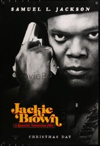 9g734 JACKIE BROWN teaser 1sh 1997 Quentin Tarantino, cool image of Samuel L. Jackson with gun!