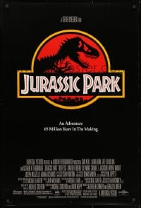 9g743 JURASSIC PARK DS 1sh 1993 Steven Spielberg, classic logo with T-Rex over red background
