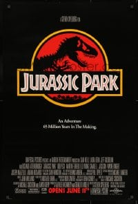 9g742 JURASSIC PARK advance 1sh 1993 Steven Spielberg, classic logo with T-Rex over red background