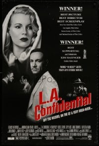 9g753 L.A. CONFIDENTIAL awards DS 1sh 1997 Kim Basinger in black and white hood, Spacey, more!