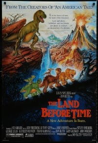9g756 LAND BEFORE TIME DS 1sh 1988 Steven Spielberg, George Lucas, Don Bluth, dinosaur cartoon!