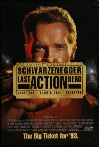 9g759 LAST ACTION HERO advance DS 1sh 1993 great images of tough Arnold Schwarzenegger