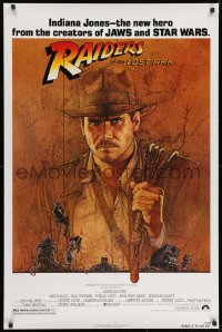9g843 RAIDERS OF THE LOST ARK 1sh 1981 Richard Amsel art of Harrison Ford, Steven Spielberg!