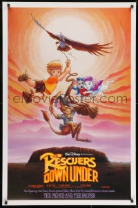 9g853 RESCUERS DOWN UNDER/PRINCE & THE PAUPER DS 1sh 1990 The Rescuers style, great image!