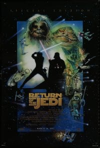 9g861 RETURN OF THE JEDI style E advance 1sh R1997 George Lucas classic, cool montage art by Drew Struzan!