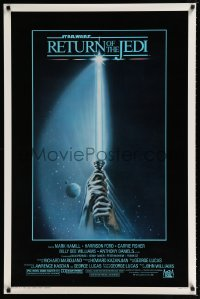 9g855 RETURN OF THE JEDI 1sh 1983 George Lucas, art of hands holding lightsaber by Tim Reamer!