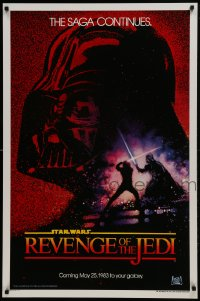 9g856 RETURN OF THE JEDI dated teaser 1sh 1983 George Lucas' Revenge of the Jedi, Drew Struzan art!