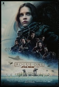 9g868 ROGUE ONE advance DS 1sh 2016 A Star Wars Story, Felicity Jones, cast montage, Death Star!