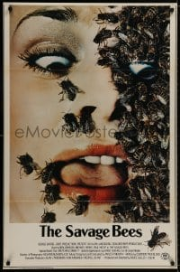 9g876 SAVAGE BEES 1sh 1976 terrifying horror image of bees crawling on girl's face!