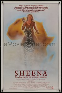 9g885 SHEENA 1sh 1984 sexy Tanya Roberts with bow & arrows riding zebra in Africa!