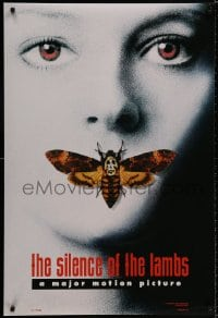 9g889 SILENCE OF THE LAMBS style A teaser DS 1sh 1991 image of Jodie Foster with moth over mouth!