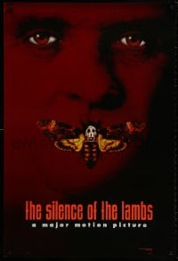 9g890 SILENCE OF THE LAMBS style B teaser DS 1sh 1991 image of Anthony Hopkins with moth over mouth!