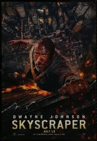 9g897 SKYSCRAPER teaser DS 1sh 2018 Dwayne The Rock Johnson perilously hanging from skyscraper edge!