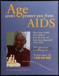 9g219 AGE WON'T PROTECT YOU FROM AIDS 17x22 special poster 1990s HIV/AIDS, smiling man!