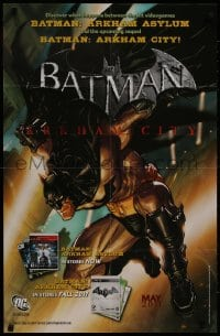 9g224 BATMAN 22x34 special poster 2011 completely different art, promoting Arkham Asylum/City!