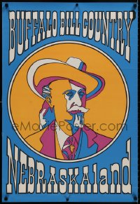9g227 BUFFALO BILL COUNTRY NEBRASKALAND 24x35 special poster 1980s colorful portrait of him!