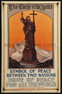 9g232 CHRIST OF THE ANDES 12x19 special poster 1922 Hoover art of Christ the Redeemer of the Andes!