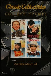 9g234 CLASSIC COLLECTIBLES COLLECT STAMPS 24x36 special poster 1990 movie art stamps, John Wayne, more!