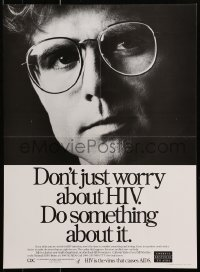 9g239 DON'T JUST WORRY ABOUT HIV 16x22 special poster 1980s AIDS, do something about it!