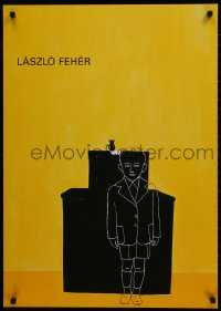 9g182 LASZLO FEHER 24x33 German museum/art exhibition 1990s cool art of boy over yellow background!