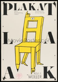 9g196 PLAKAT 23x32 East German silkscreen art exhibition 1981 works of Rolf F. Muller, chair art!