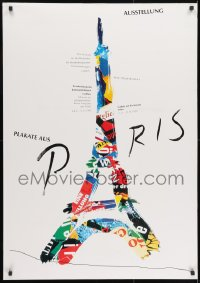 9g198 PLAKATE AUS PARIS 28x40 German museum/art exhibition 1993 art of the Eiffel Tower by Haute!