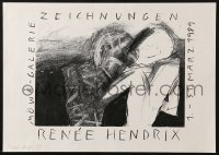9g202 RENEE HENDRIX signed 12x17 German museum/art exhibition 1989 by the artist!