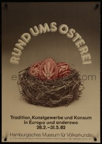 9g205 RUND UMS OSTEREI 24x33 German museum/art exhibition 1982 cool art of valuable eggs in nest!