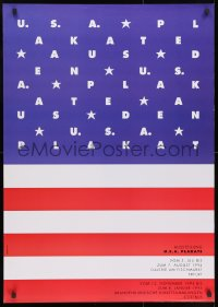 9g212 U.S.A. PLAKATE 27x38 German museum/art exhibition 1994 art of the American flag by Wallat!