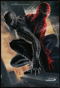 9g913 SPIDER-MAN 3 teaser 1sh 2007 Raimi, the battle within, Maguire, black/red suits, textured!