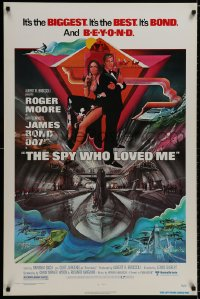 9g916 SPY WHO LOVED ME 1sh 1977 great art of Roger Moore as James Bond by Bob Peak!