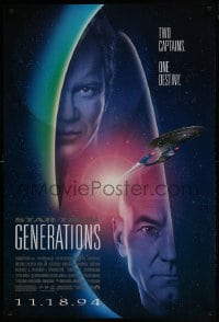 9g922 STAR TREK: GENERATIONS advance 1sh 1994 Stewart as Picard & Shatner as Kirk, two captains!