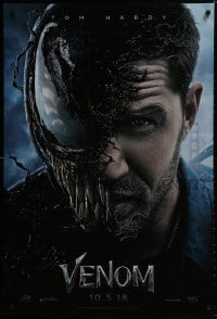 9g974 VENOM int'l French language teaser DS 1sh 2018 Tom Hardy in the title role transforming!