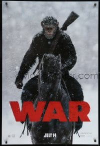 9g980 WAR FOR THE PLANET OF THE APES style A teaser DS 1sh 2017 great image of Caesar on horseback!