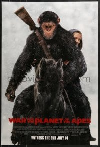 9g981 WAR FOR THE PLANET OF THE APES style D int'l advance DS 1sh 2017 Caesar & Miller on horseback!