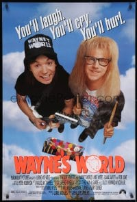 9g983 WAYNE'S WORLD int'l DS 1sh 1991 Mike Myers & Dana Carvey from Saturday Night Live sketch!