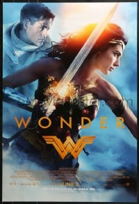 9g988 WONDER WOMAN advance DS 1sh 2017 sexiest Gal Gadot in title role/Diana Prince, Chris Pine