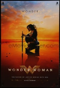 9g989 WONDER WOMAN teaser DS 1sh 2017 sexiest Gal Gadot in title role/Diana Prince kneeling, June 2