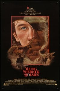 9g997 YOUNG SHERLOCK HOLMES 1sh 1985 Steven Spielberg, Nicholas Rowe, really cool detective art!
