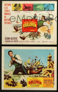 9k040 3 WORLDS OF GULLIVER 8 LCs 1960 Ray Harryhausen fantasy classic, giant Kerwin Mathews!