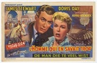 9m006 MAN WHO KNEW TOO MUCH Belgian herald 1956 James Stewart & Doris Day, Hitchcock, different!