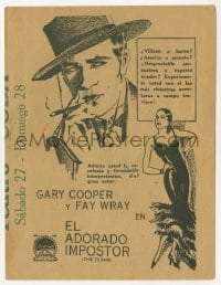 9m008 TEXAN 4pg Cuban herald 1930 great wanted poster image with Gary Cooper as the Llano Kid!