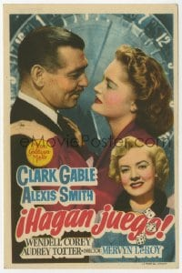 9m084 ANY NUMBER CAN PLAY Spanish herald 1950 gambler Clark Gable, Alexis Smith & Audrey Totter!