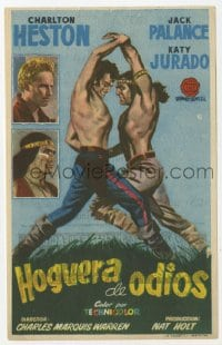 9m086 ARROWHEAD Spanish herald 1957 art of Charlton Heston fighting Native American Jack Palance!