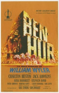 9m098 BEN-HUR Spanish herald 1961 William Wyler classic religious epic, Joseph Smith title art!