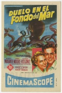 9m097 BENEATH THE 12-MILE REEF Spanish herald 1955 cool Soligo art of scuba diver fighting octopus!