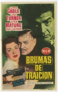 9m099 BETRAYED Spanish herald 1955 Clark Gable, Victor Mature, sexy brunette Lana Turner, different!