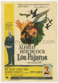 9m100 BIRDS Spanish herald 1963 director Alfred Hitchcock shown, Tippi Hedren, classic attack art!