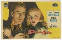 9m105 BLUE DAHLIA Spanish herald 1949 close up art of Alan Ladd with gun & sexy Veronica Lake!