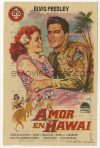 9m107 BLUE HAWAII Spanish herald 1964 art of Elvis Presley & redheaded Joan Blackman by Jano!